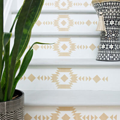 Staircase makeover with wood look stair riser decals