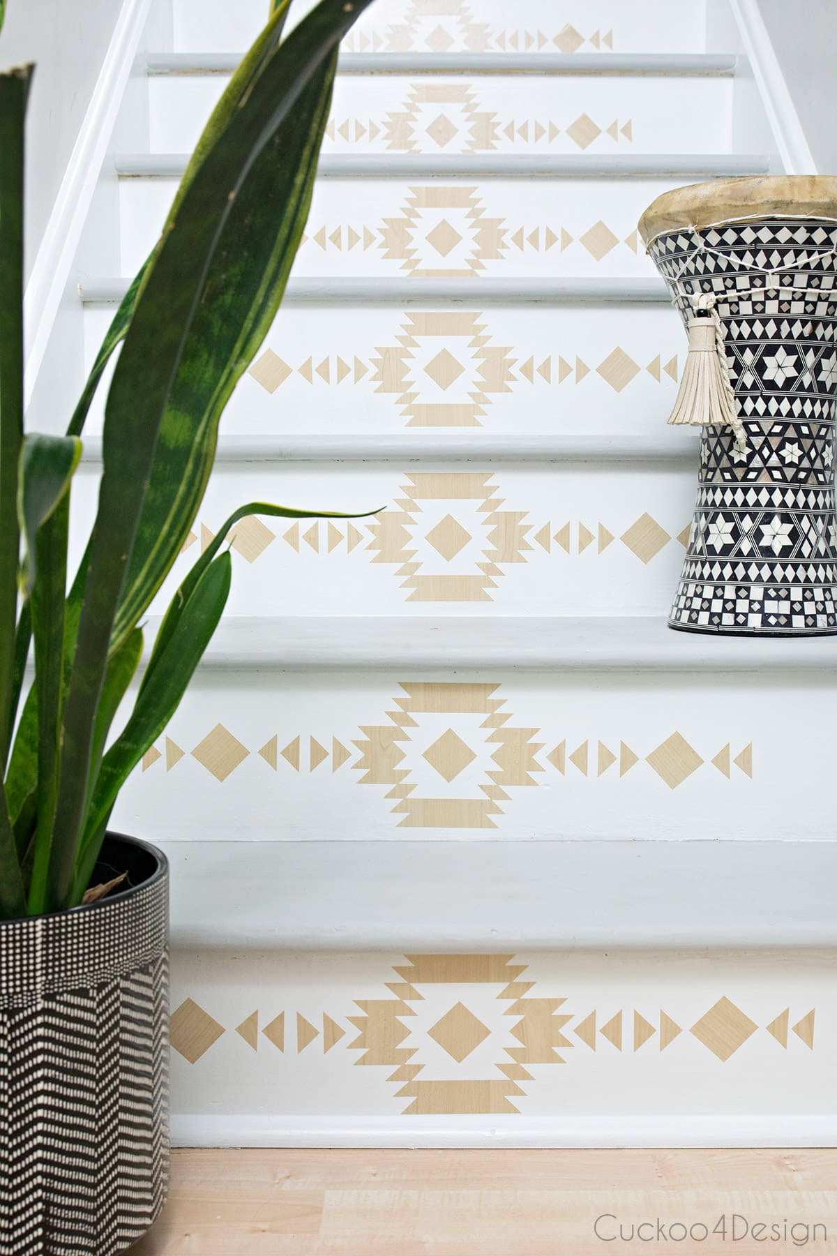 wood look stair riser decals for staircase makeover
