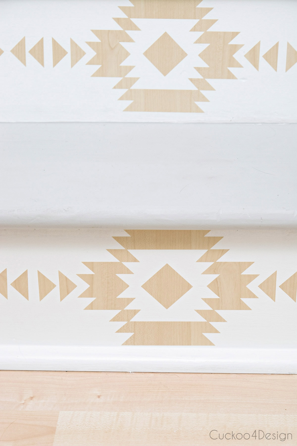 wood inlay pattern look on staircase risers