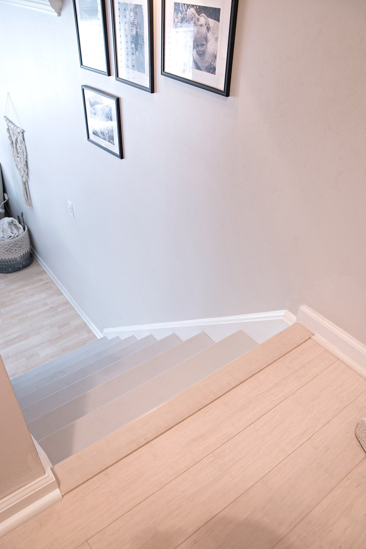 light gray wood stairs