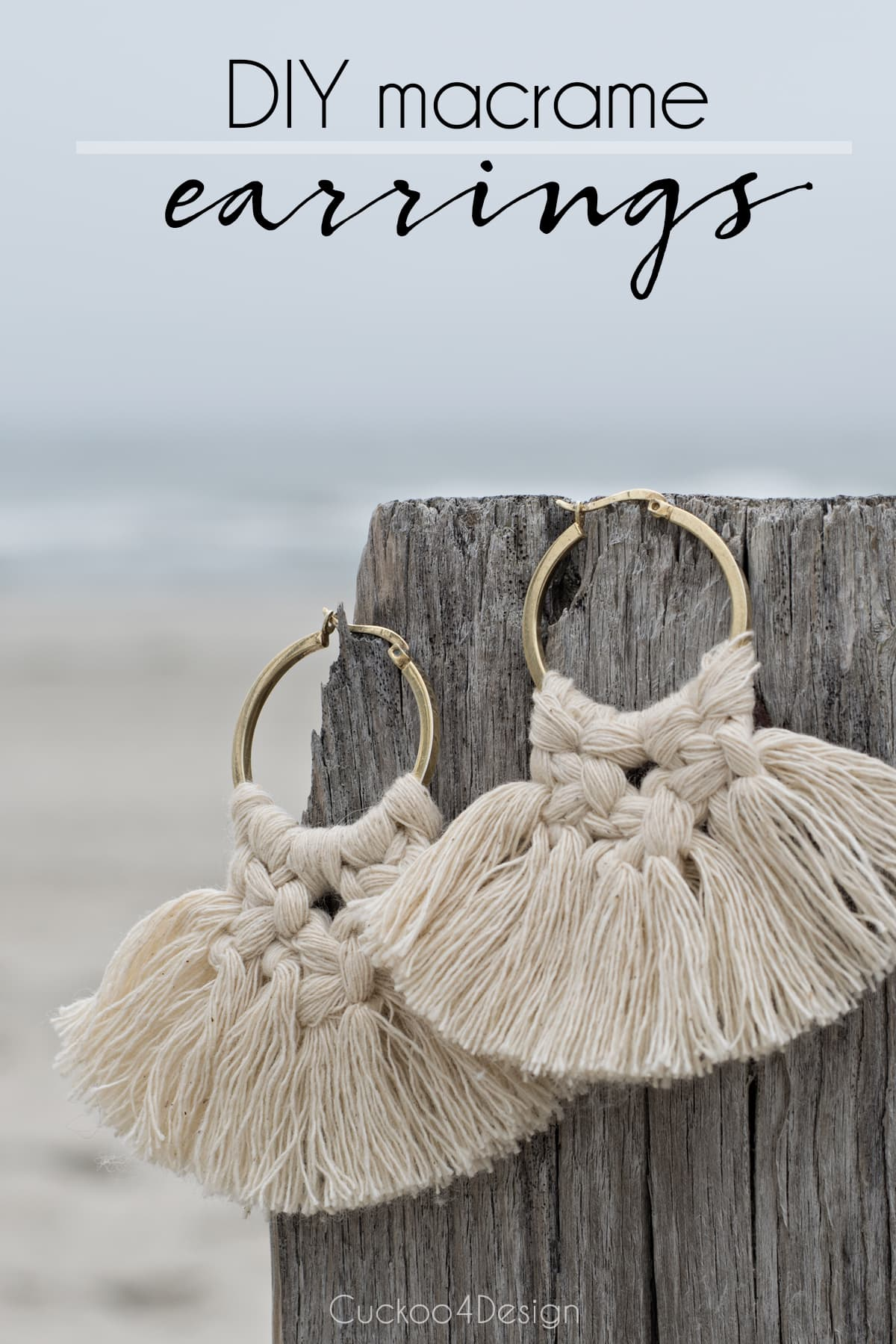 DIY macrame earrings tutorial