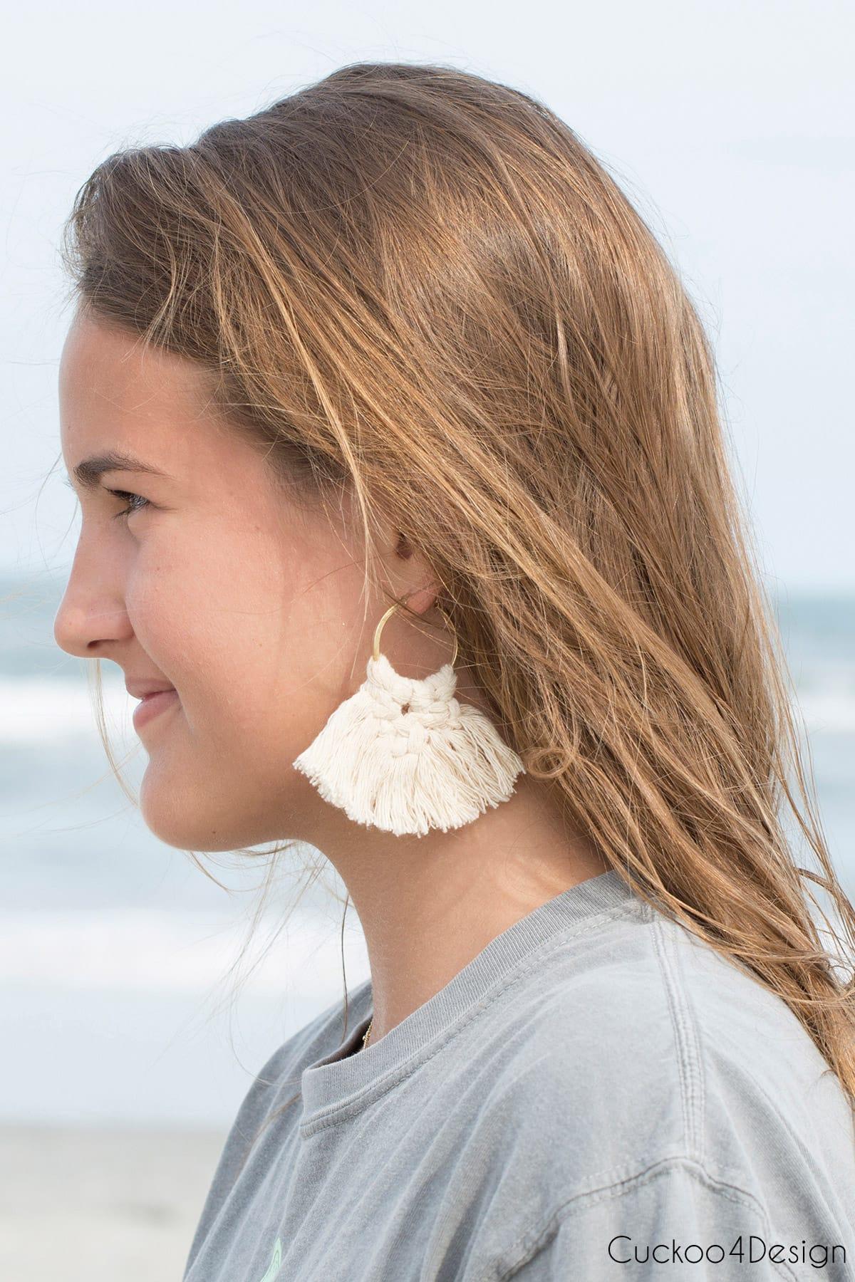 wearing macrame earrings