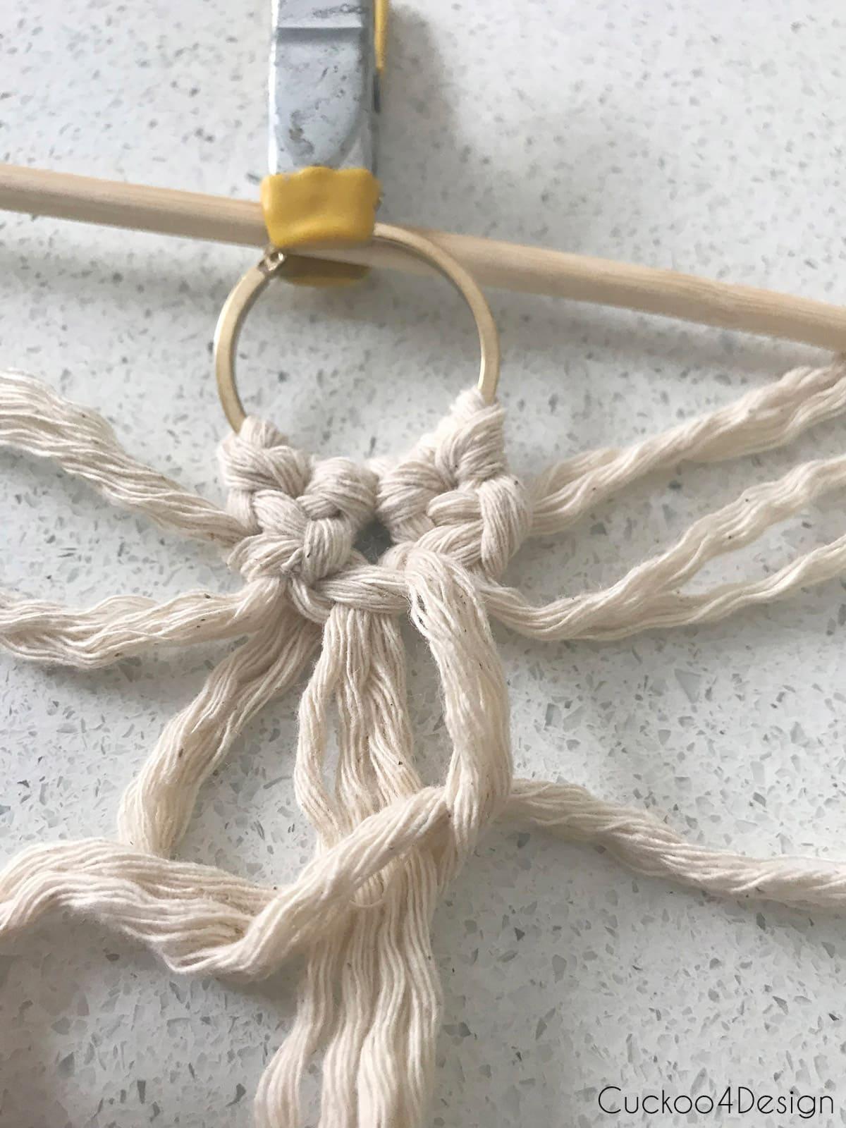 how to make simple macrame earrings on gold hoops