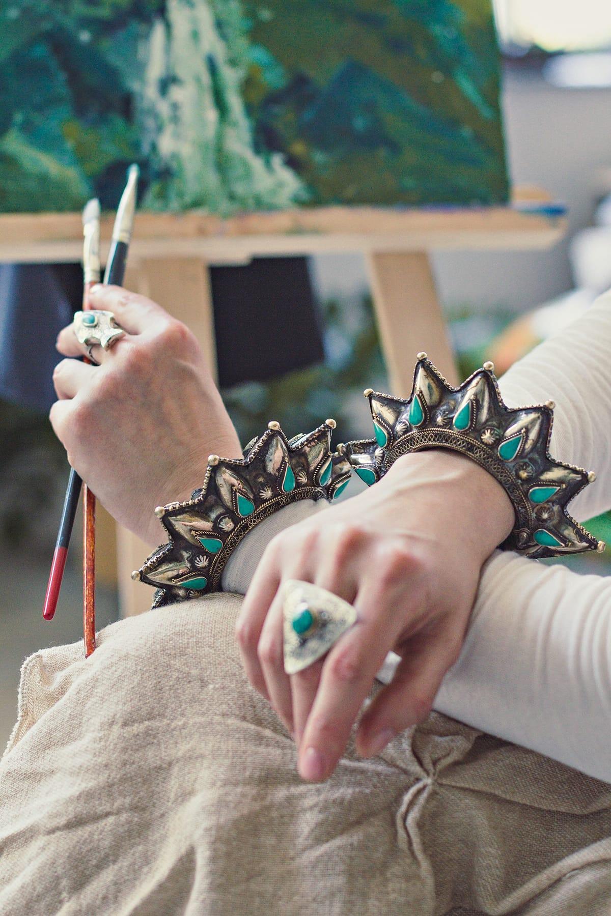 tribal Afghan turquoise bracelet