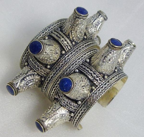blue lapis lazuli stone cuff bracelet