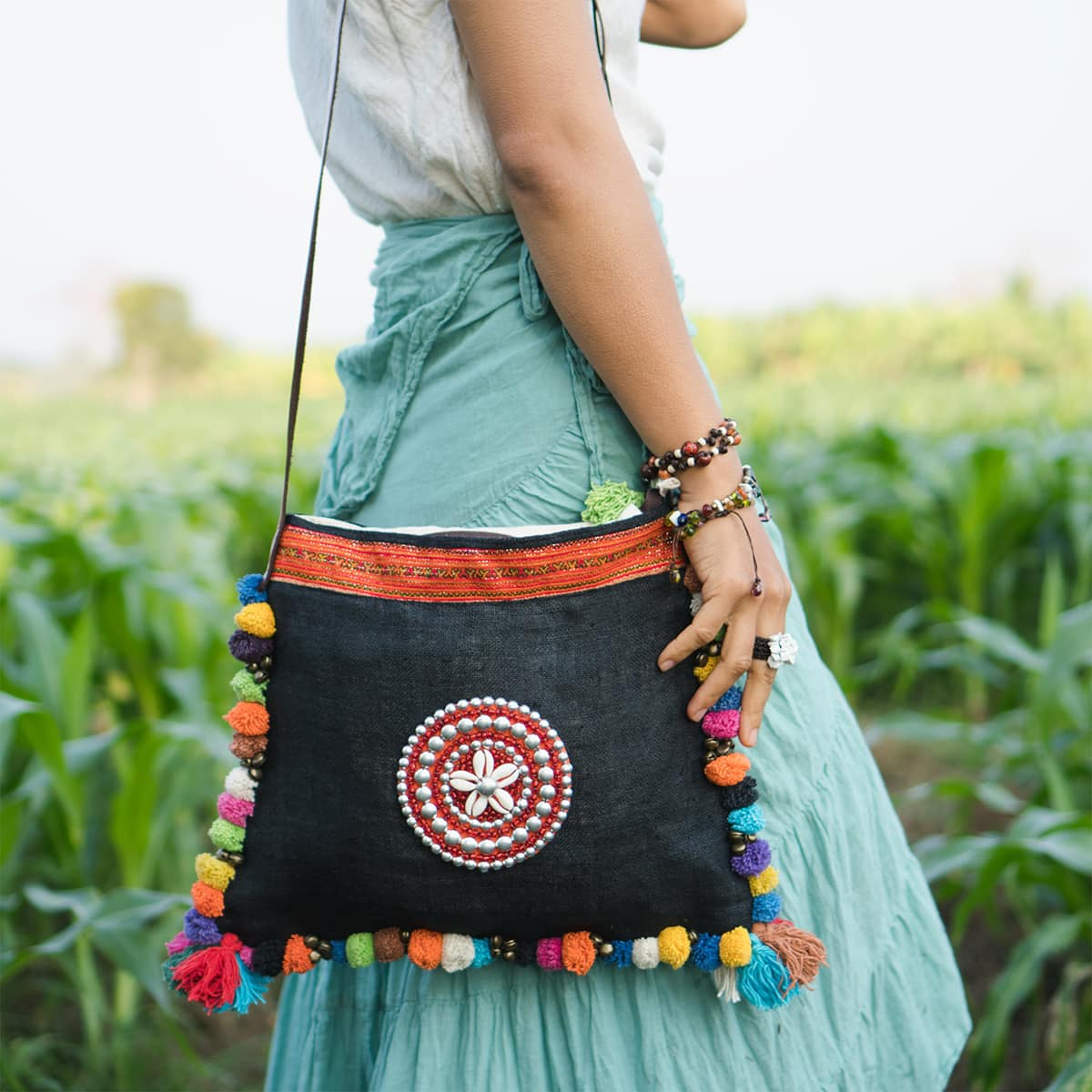 colorful Thai pom pom crossbody bag