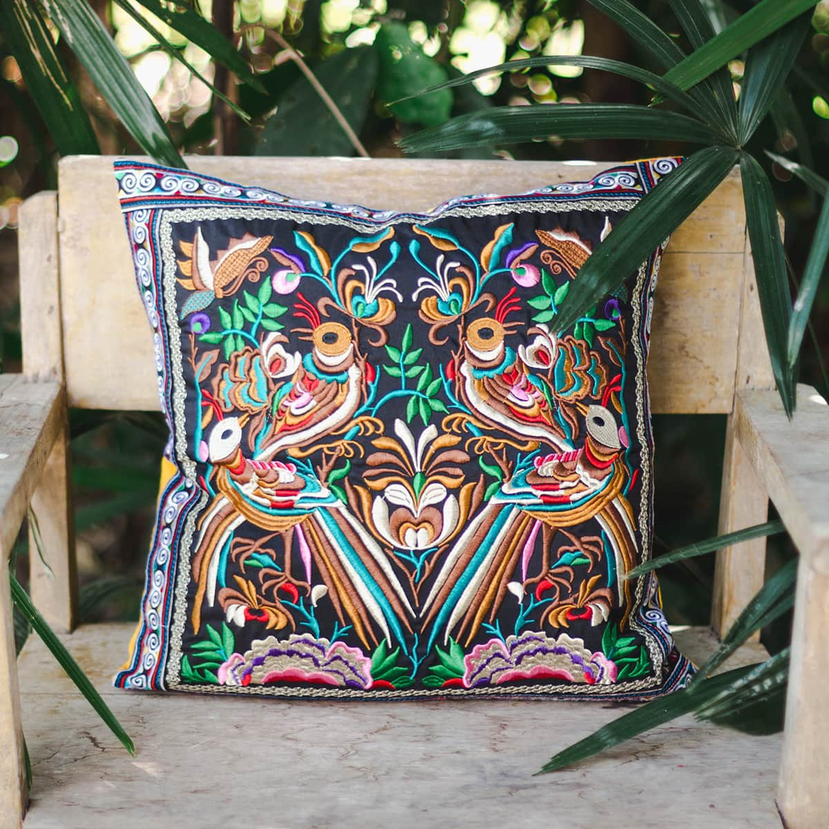 Hmong Thai embroidered pillow cover