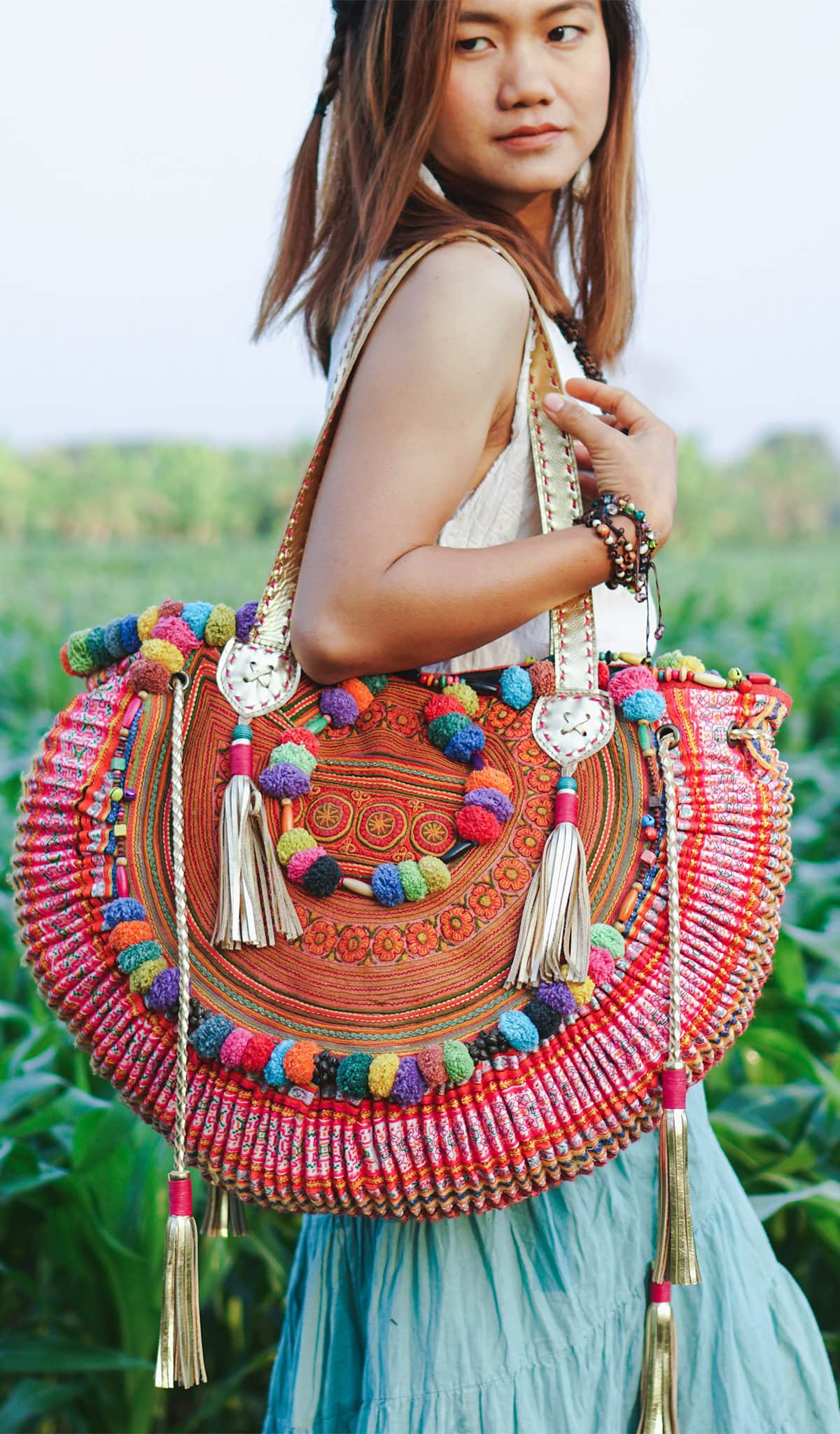red vintage half moon beach bag for women with Hmong embroidery