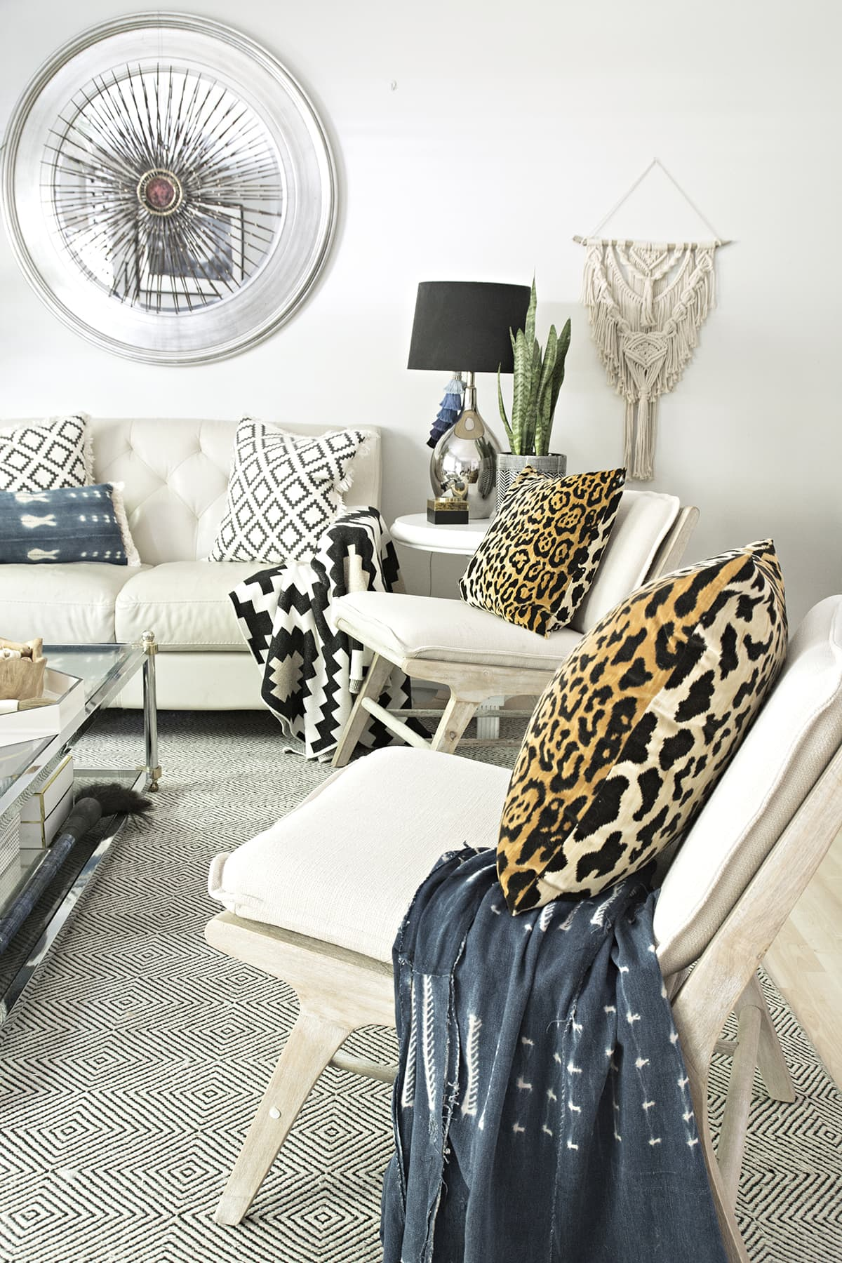 new accent chairs in neutral living room with a global bohemian vibe
