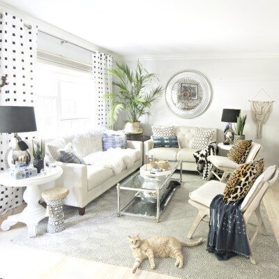 Neutral Living Room with a Boho Touch