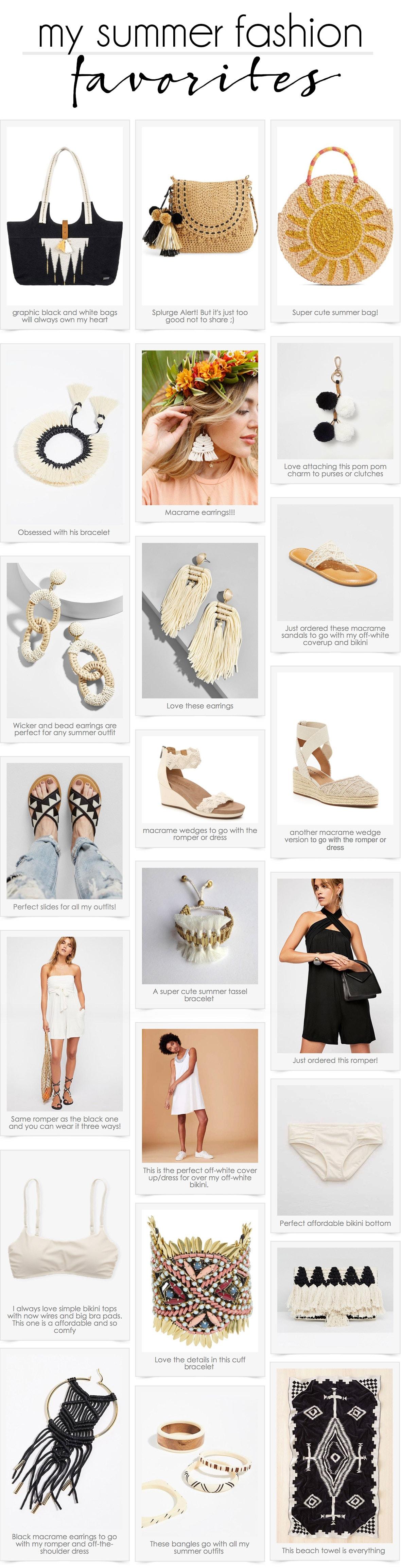 summer fashion favorites | summer handbags | summer jewelry | macrame flip flops | macrame wedges | black and white fashion #fashion #summerfashion