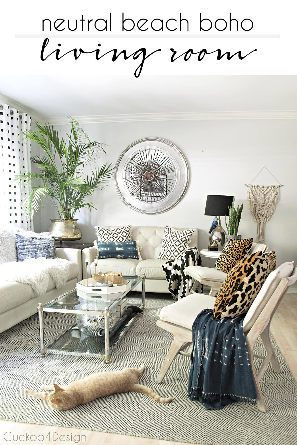 neutral living room with a bohemian vibe