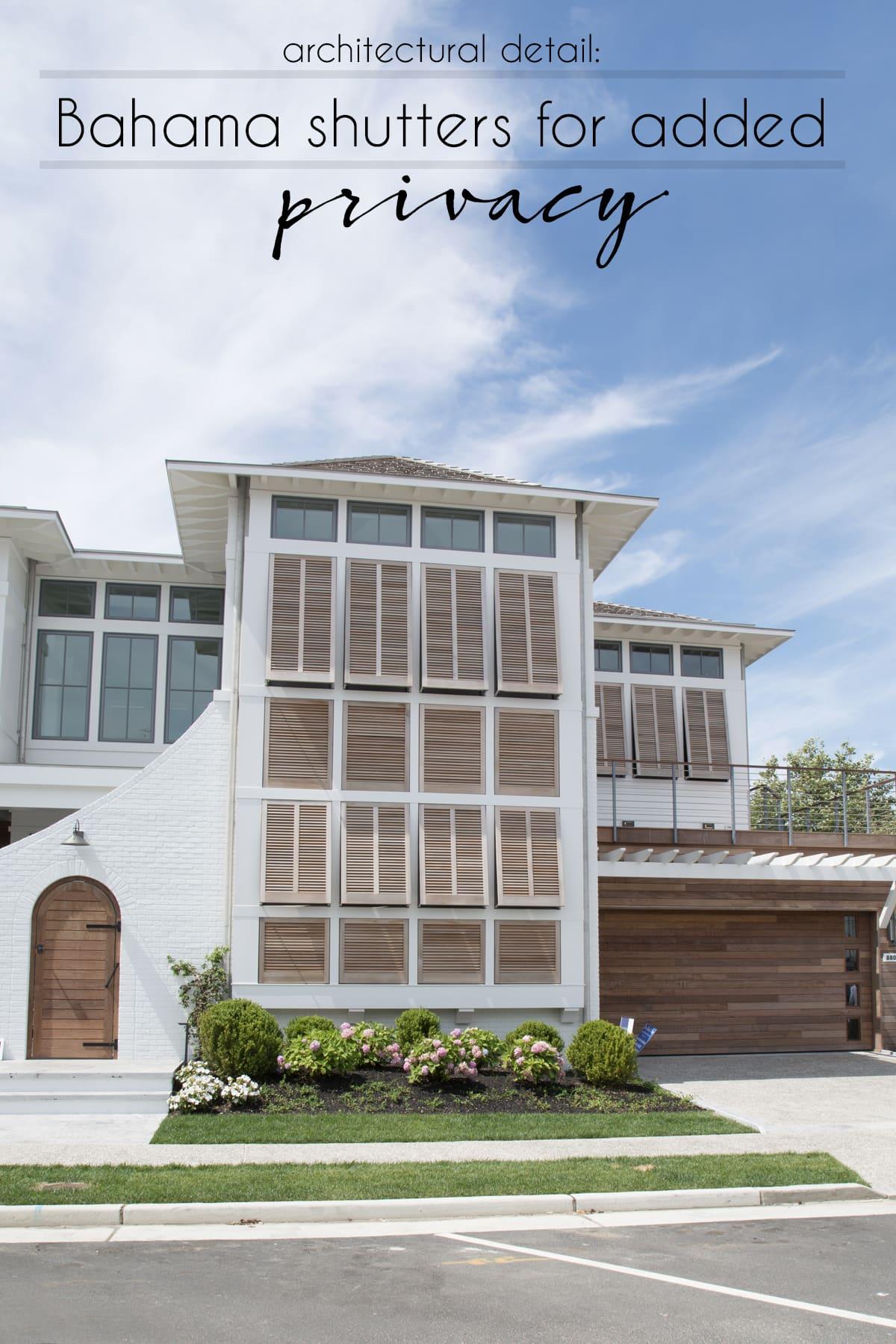 beach homes | beach homes featuring Bahama shutters | wooden Bahama shutters | black Bahama shutters | modern beach home with wooden details | beach architecture #beacharchitecture #beachhomes