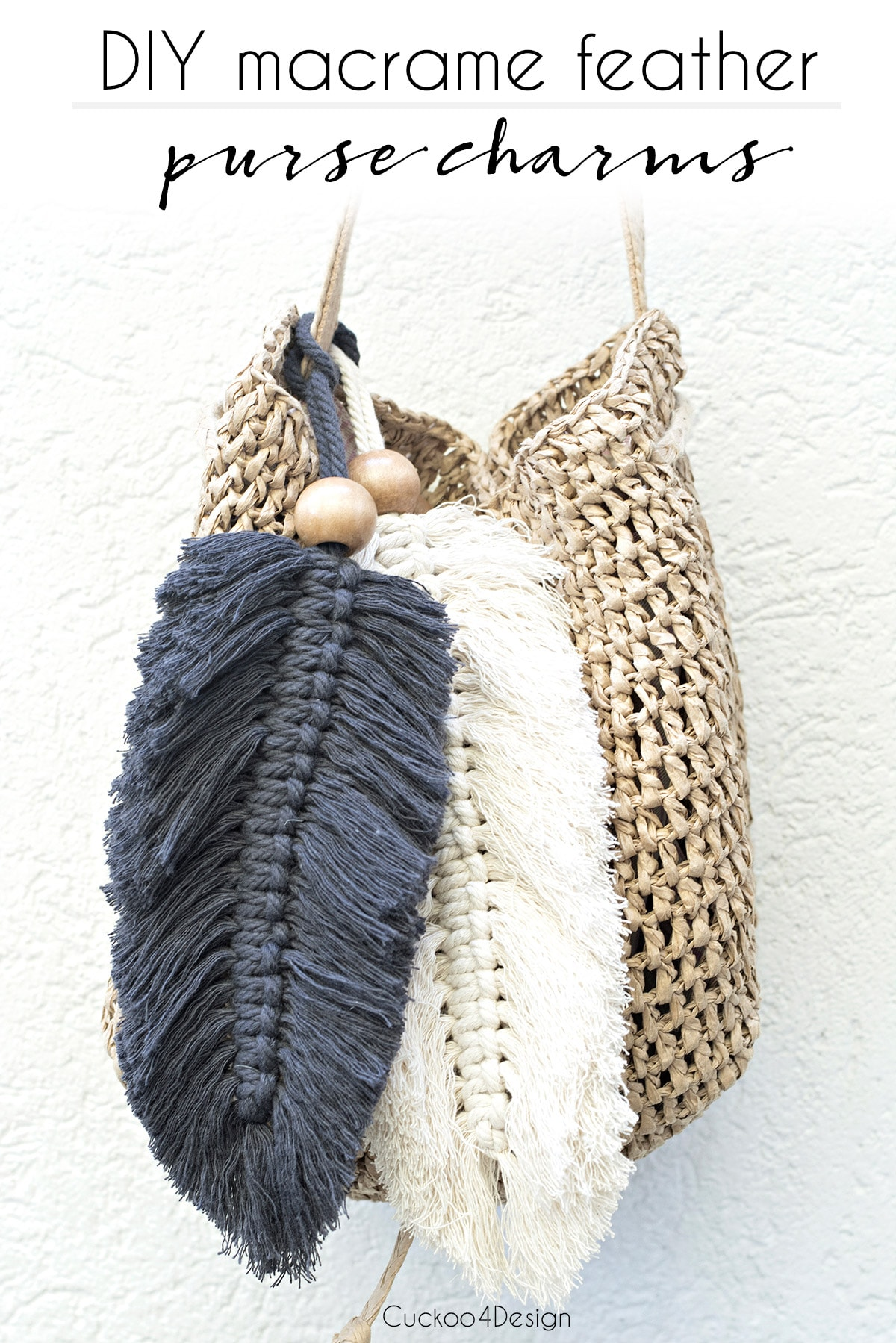 How to make large beaded macrame feather purse charms