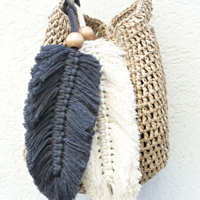 Macrame Feather Purse Charms