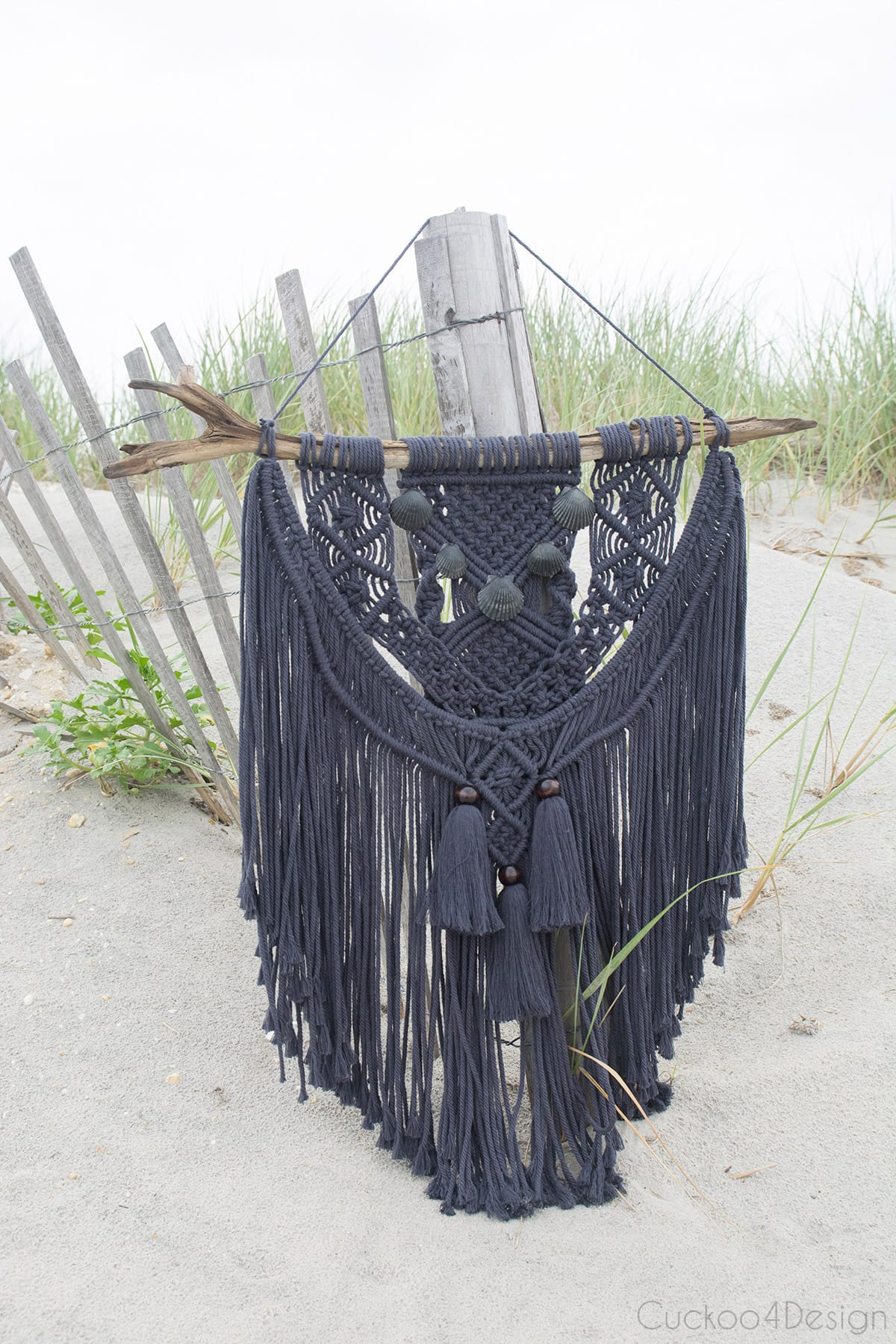 dark gray macrame with dark Jersey Shore seashells