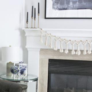DIY fireplace macrame garland