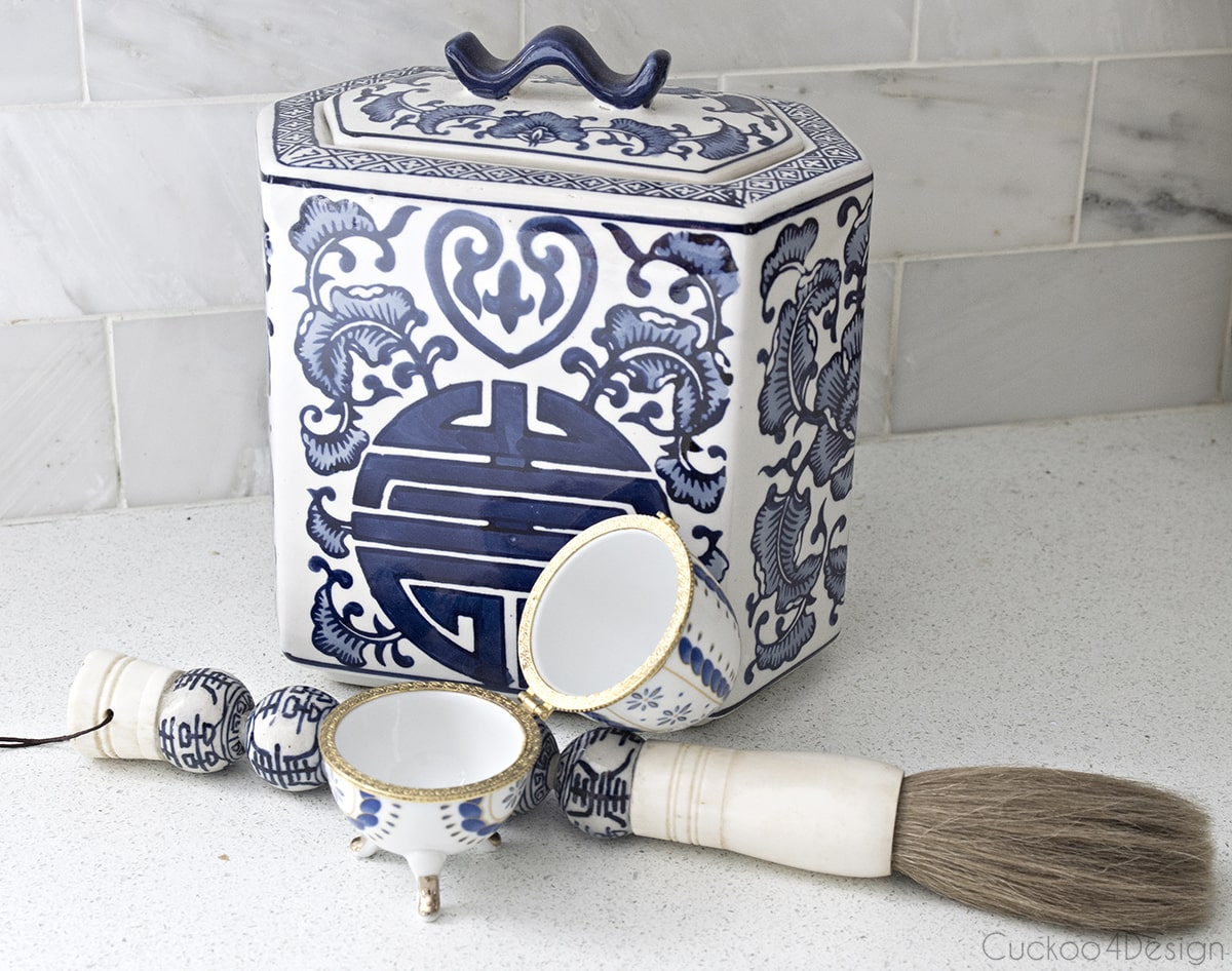 blue and white porcelain egg with feet