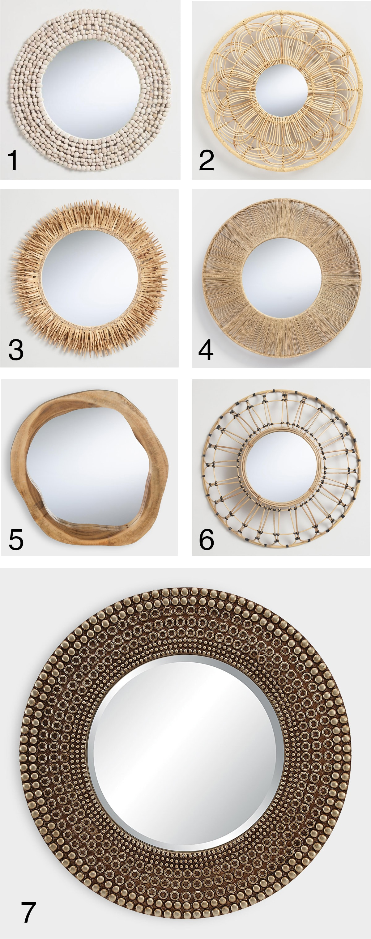 boho mirrors made from natural materials