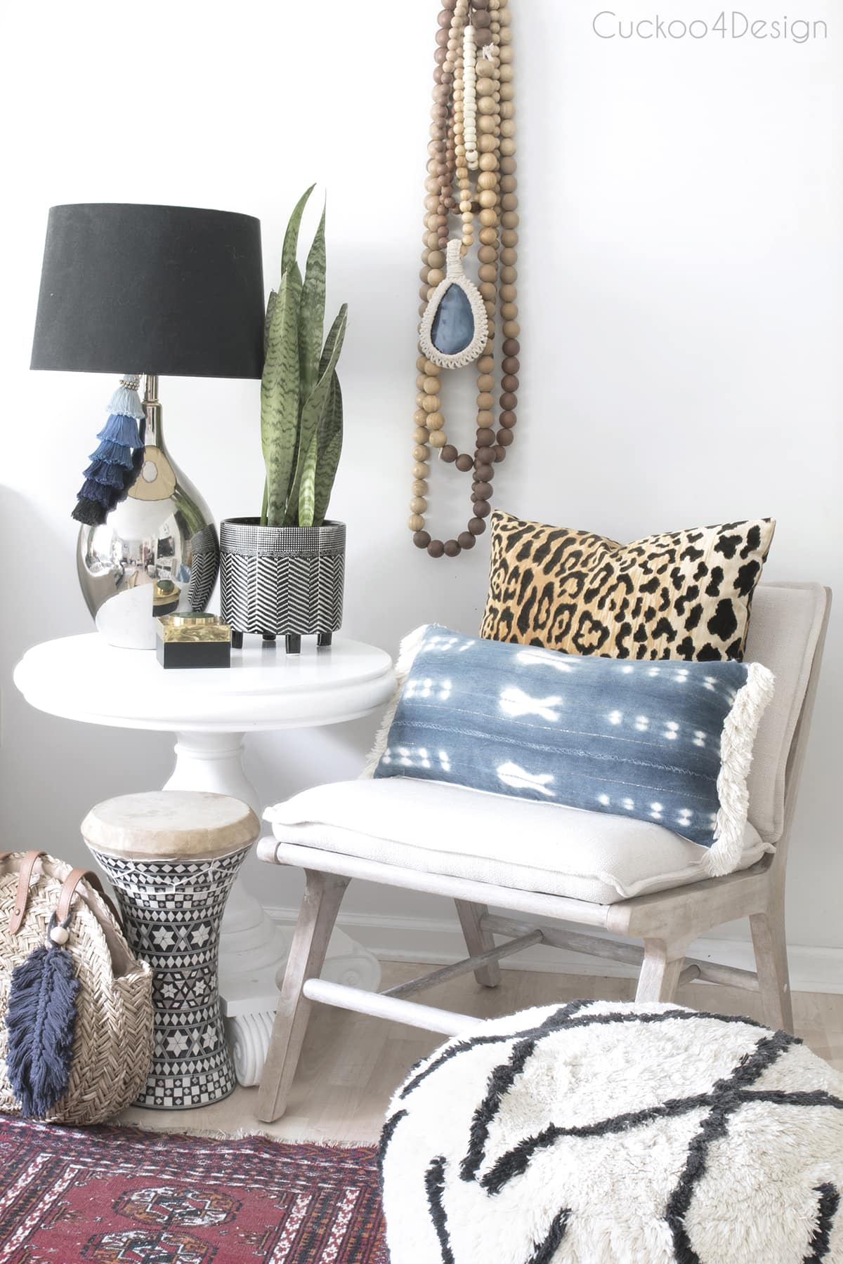 Moroccan living room pouf in black and white pattern