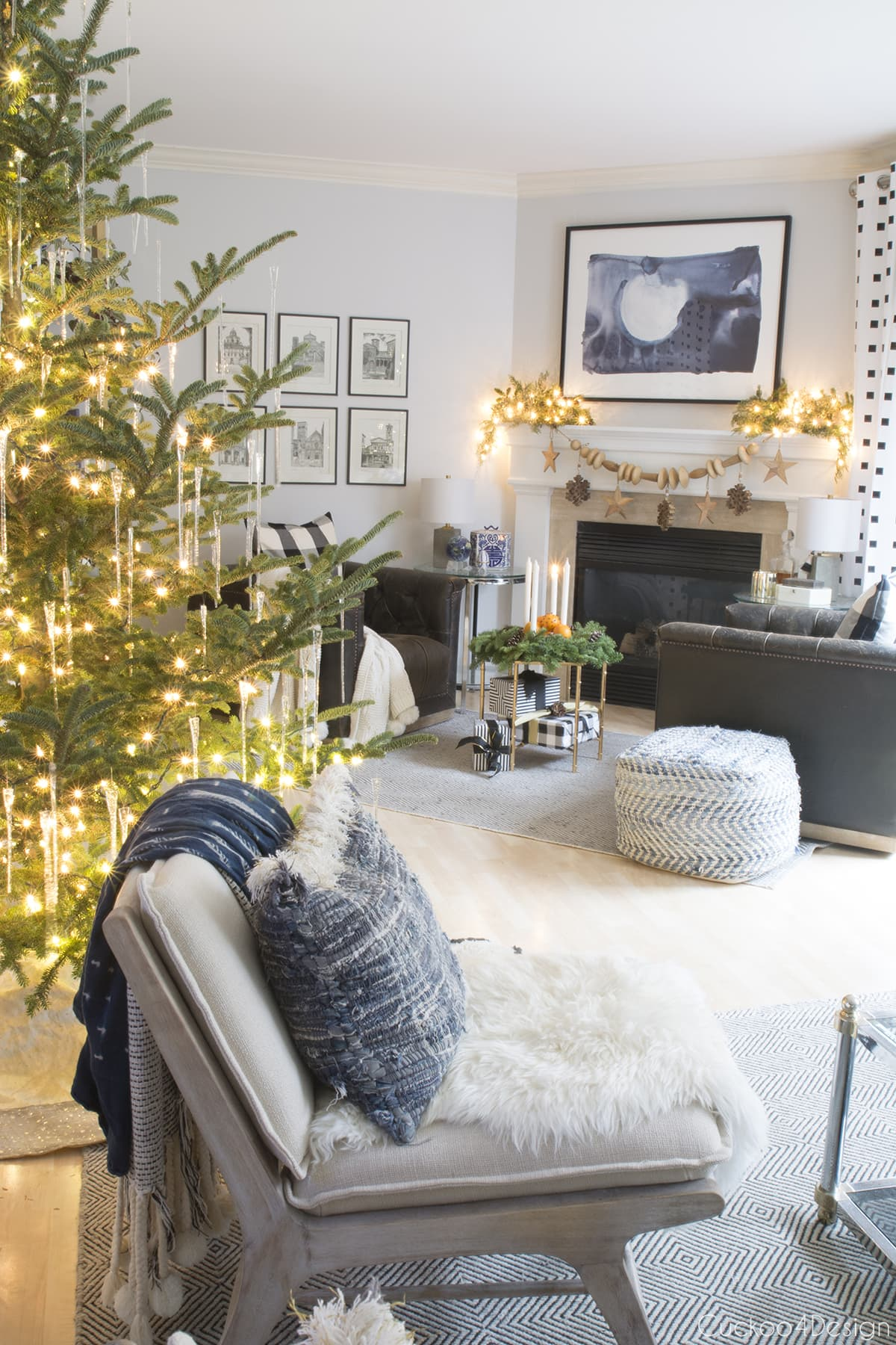 natural Christmas decorations in neutral home with blue accents