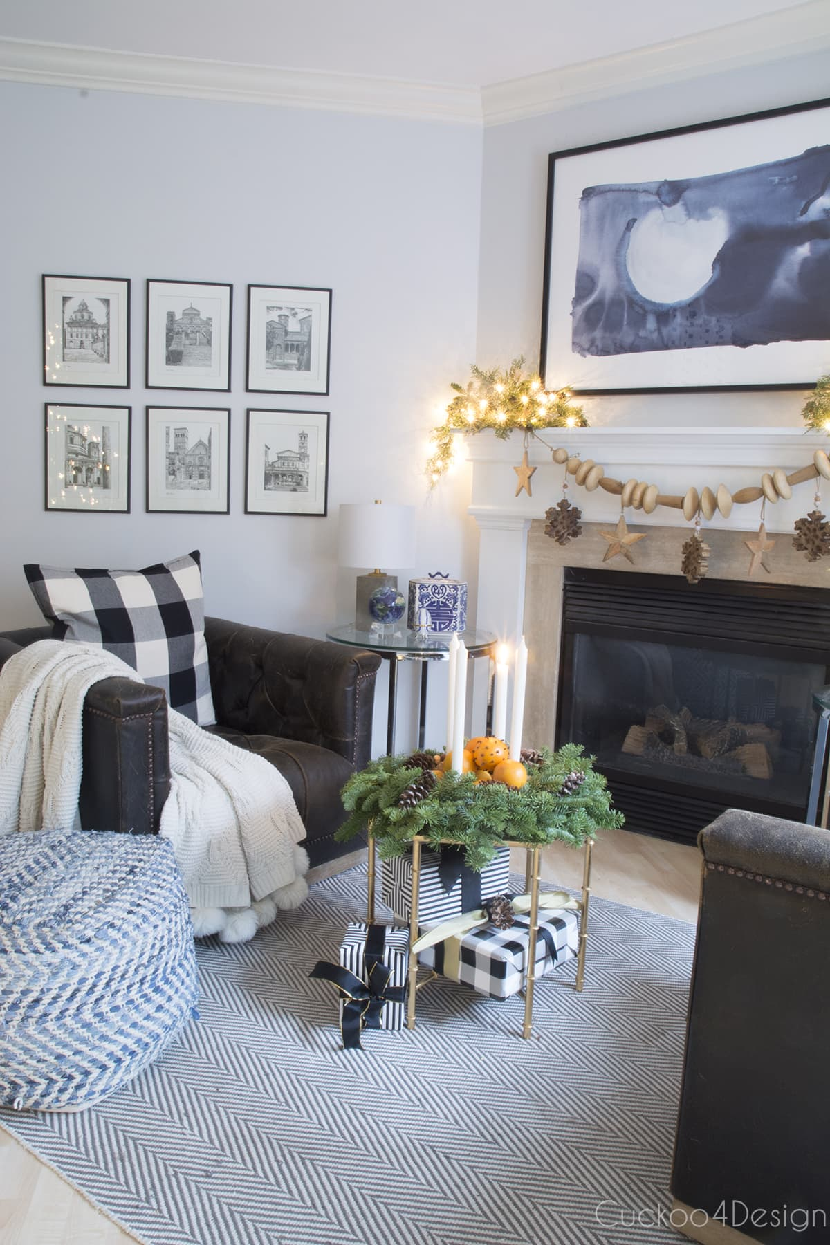 fireplace with natural Christmas decorations