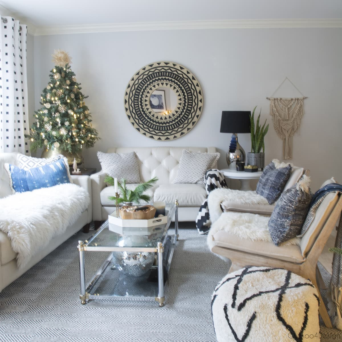 neutral boho living room with natural Christmas decorations
