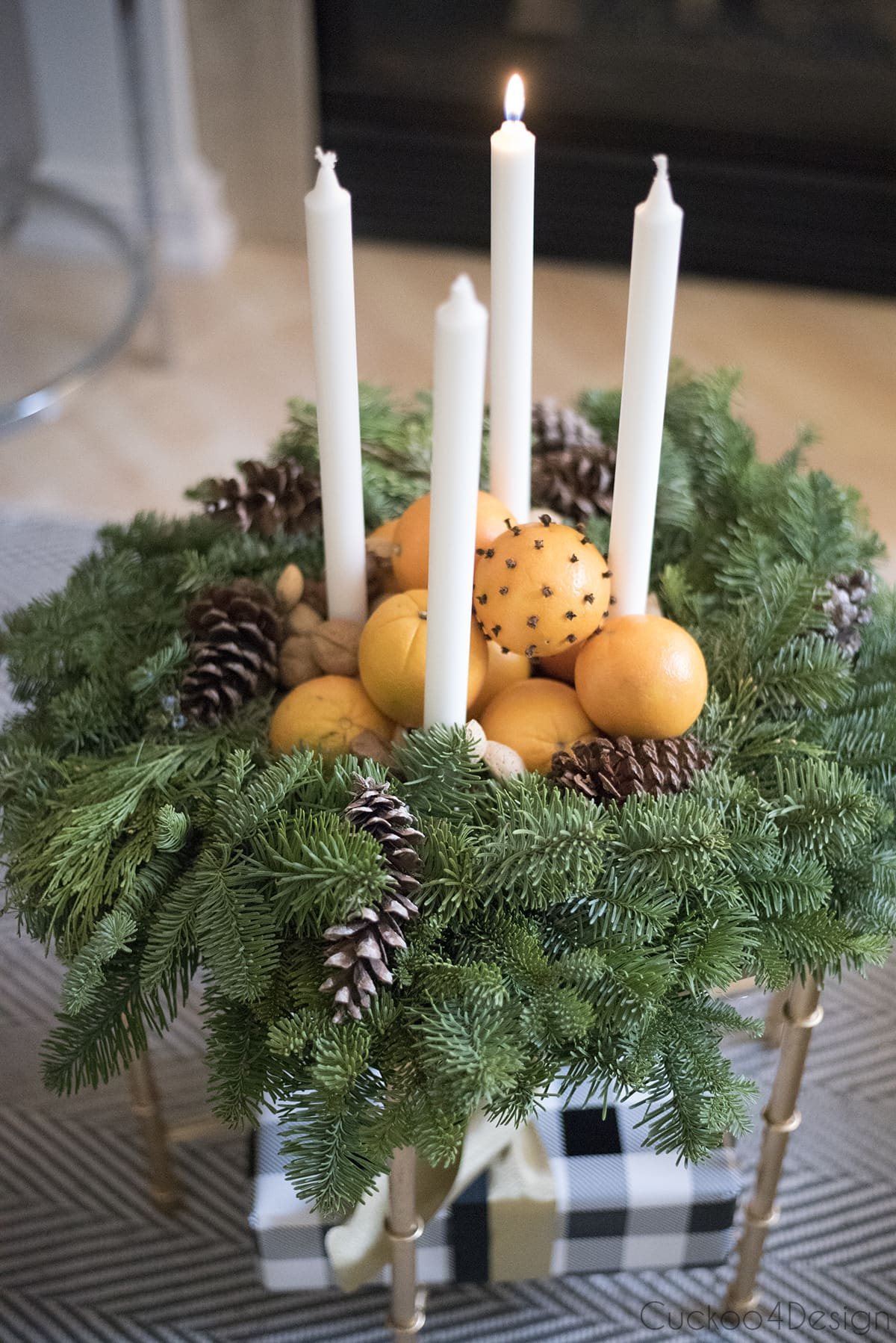 advent wreath as natural Christmas decorations