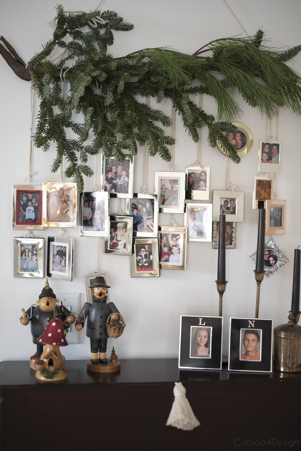 pine tree swag with photos as natural Christmas decorations