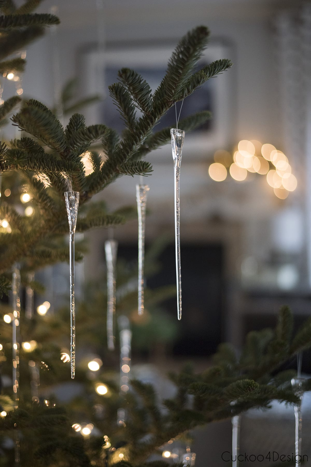 icicles with lights on tree as natural Christmas decorations