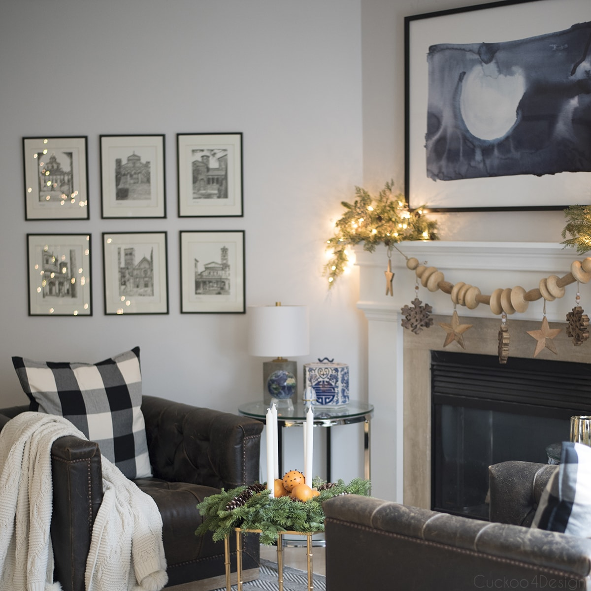 fireplace wooden garland as natural Christmas decorations