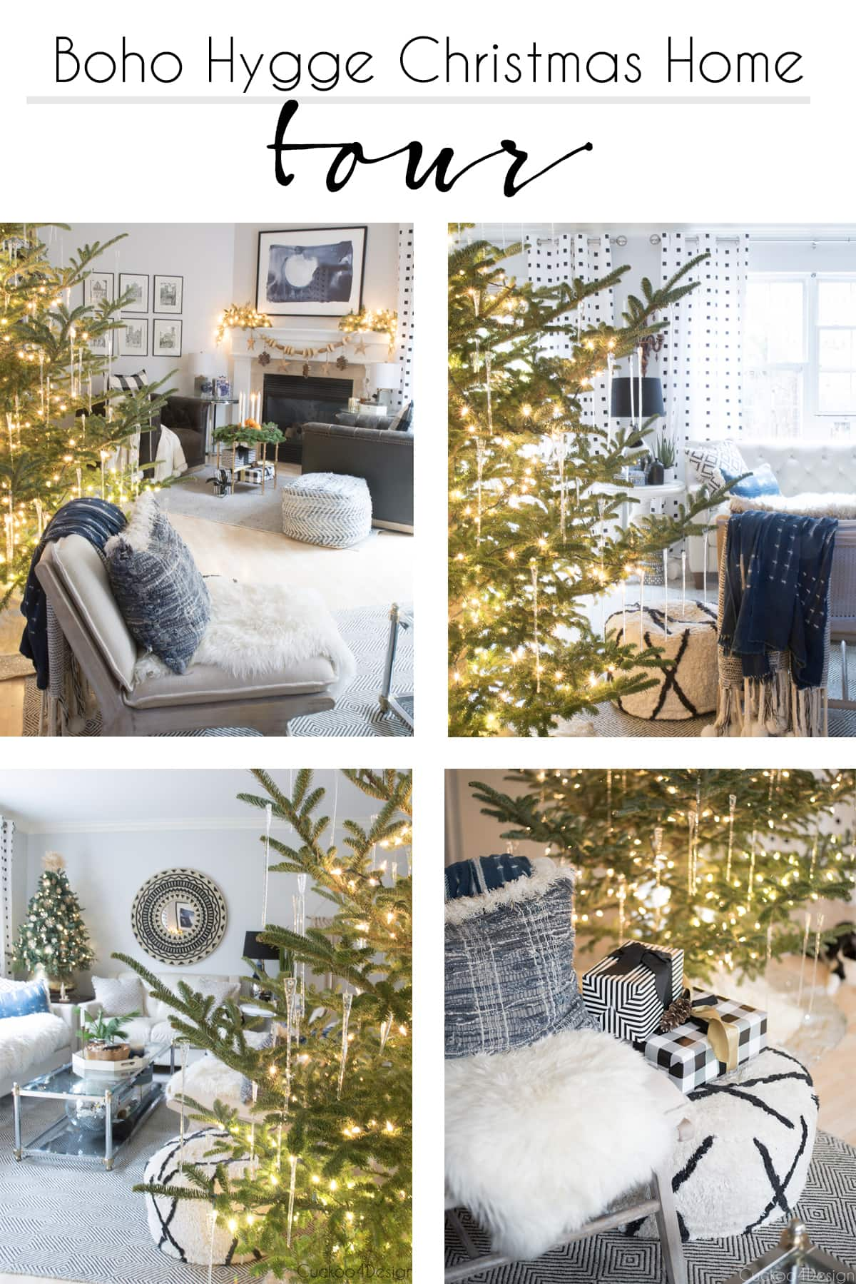 natural Christmas decorations in neutral boho home