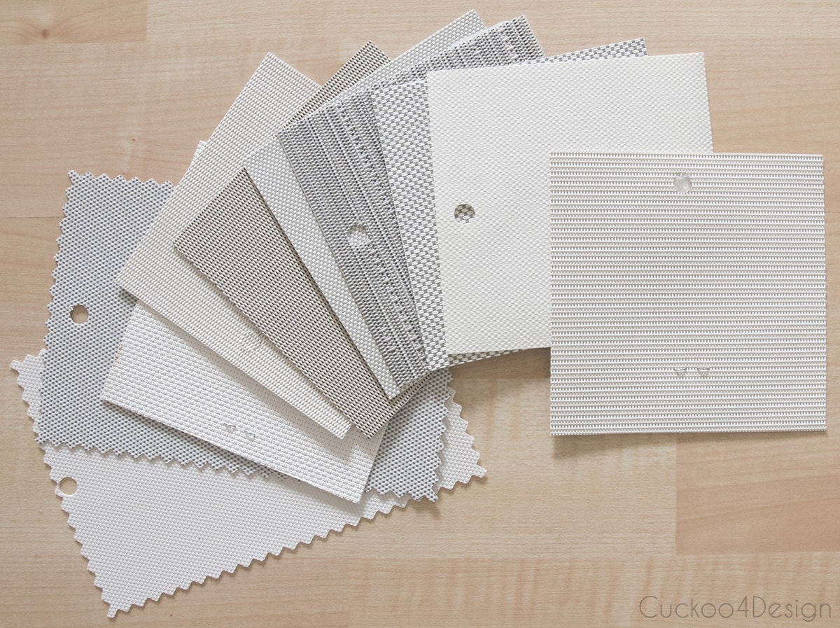solar roller shades sample swatches in neutral colors