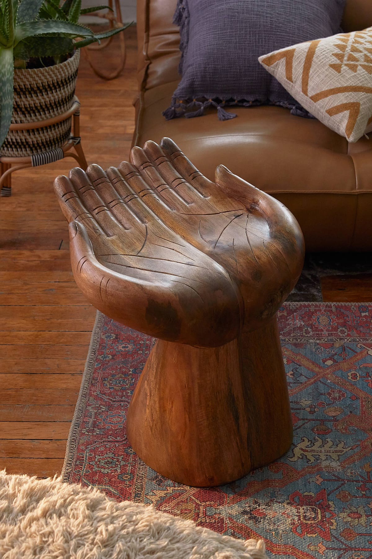 wooden hand stool