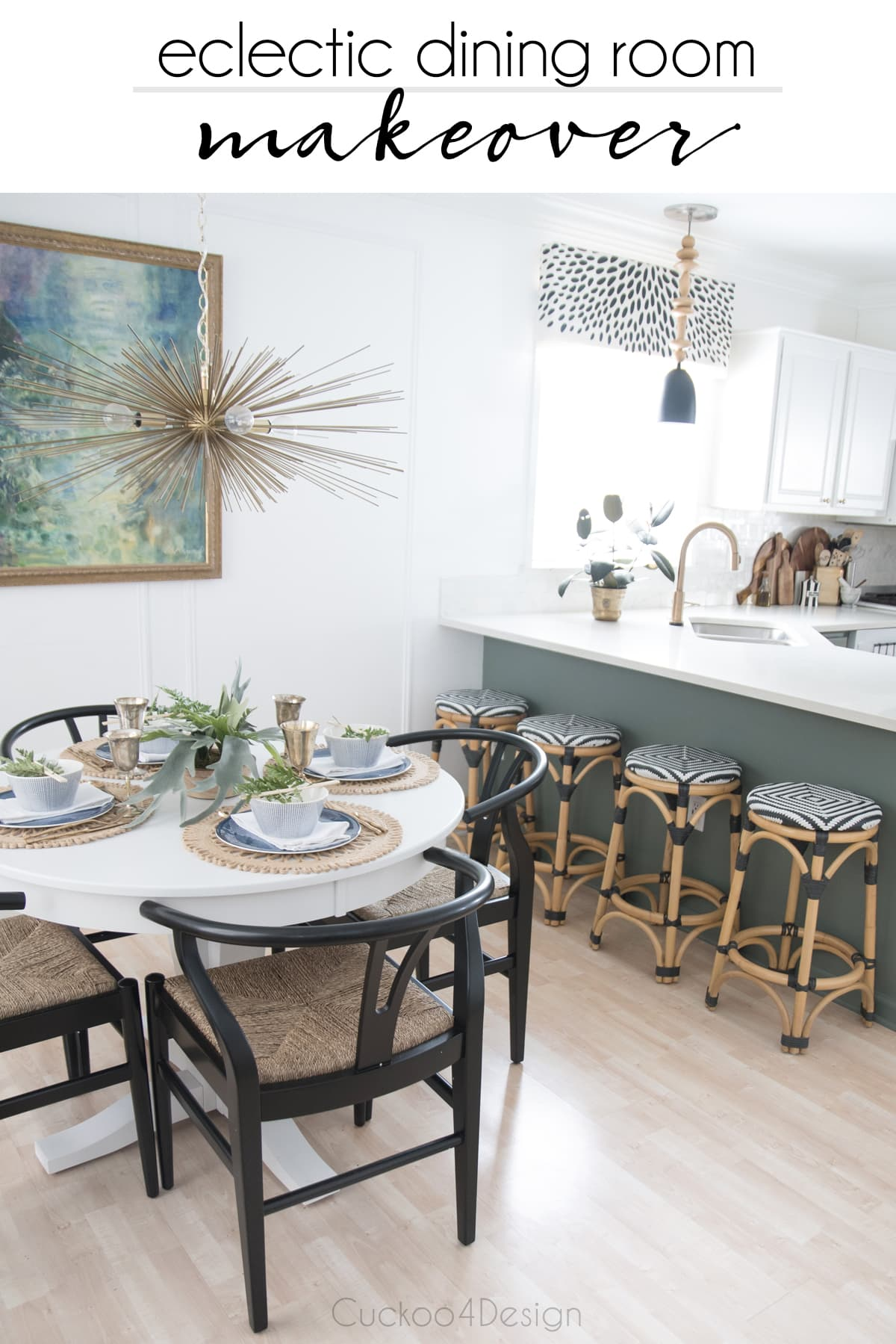 eclectic dining room makeover with white pedestal able and wishbone chairs