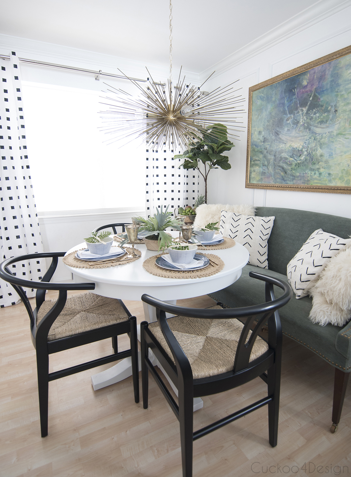 green and blue and white eclectic dining room