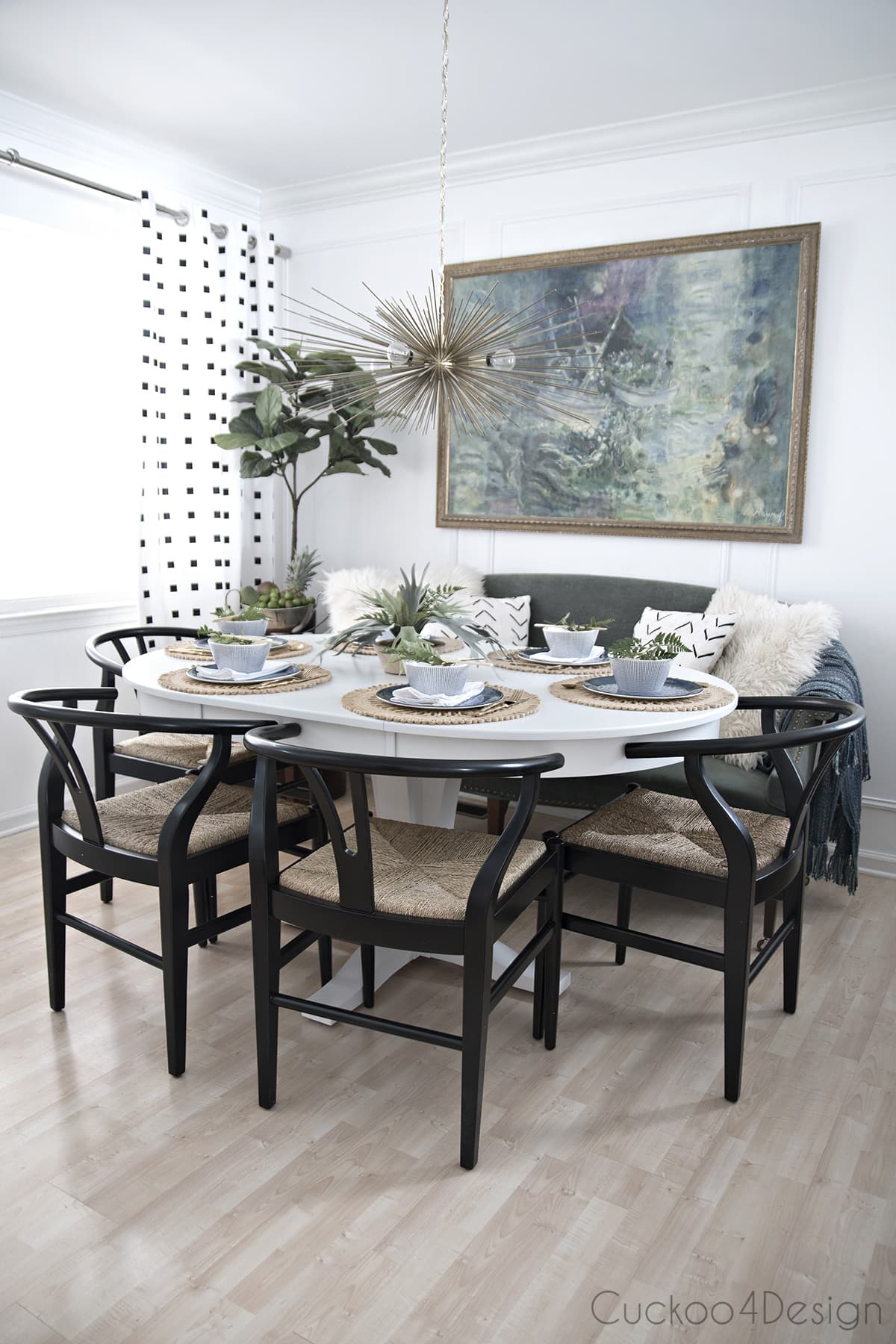seating 7 around white pedestal table