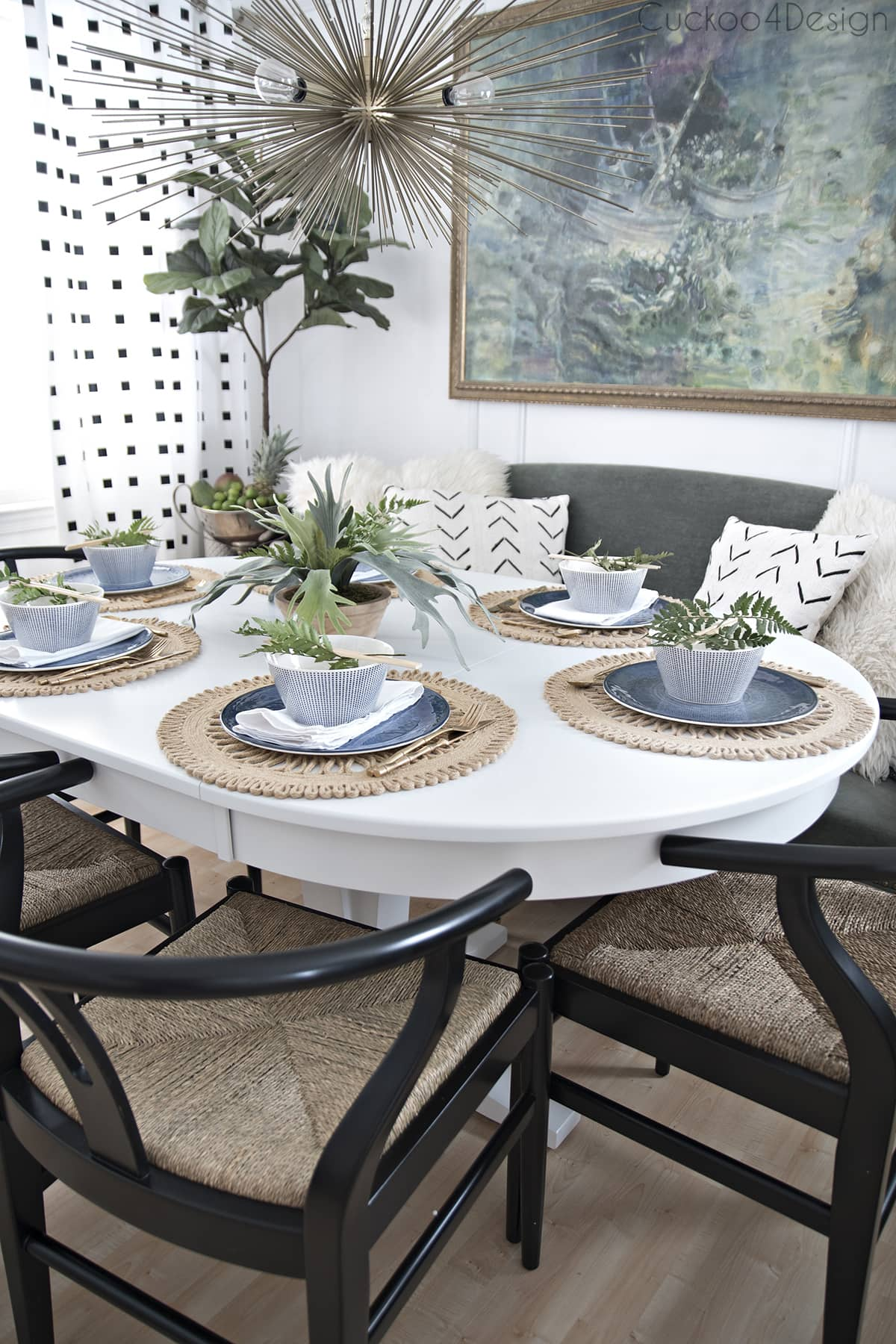 green and blue dining room accessories