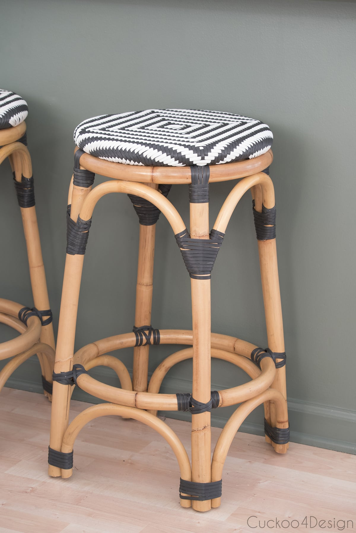rattan counter stools with black and white woven seats
