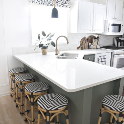 Turning my white laminate builder grade kitchen into a green and white two-toned kitchen