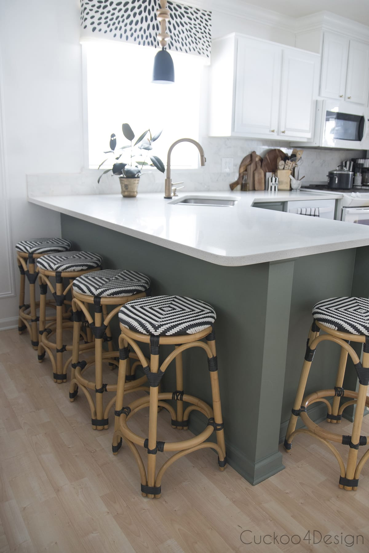 green and white kitchen transformation