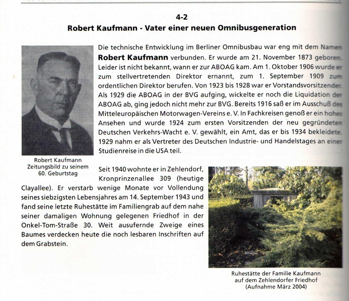 Robert Kaufmann in dem Buch 100 Jahre Berliner Kraftomnibusse Die ersten 40 Jahre