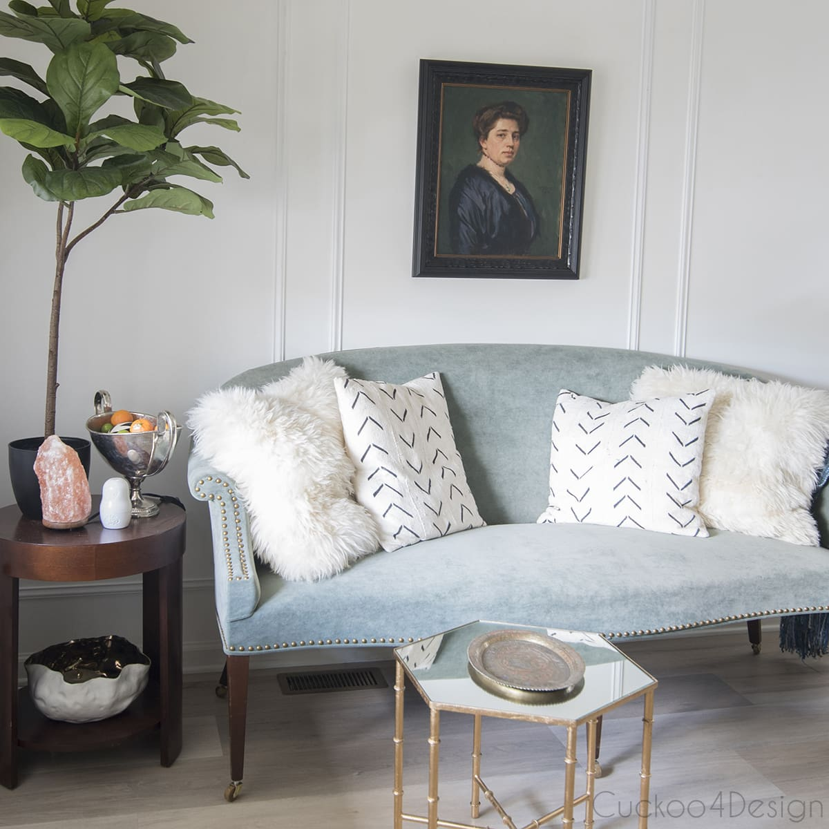 DIY fine art reproduction oil painting over our antique settee