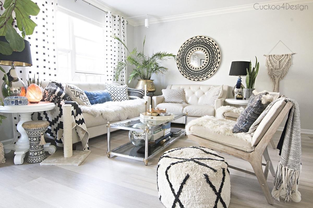 light colored vinyl wood plank flooring in living room