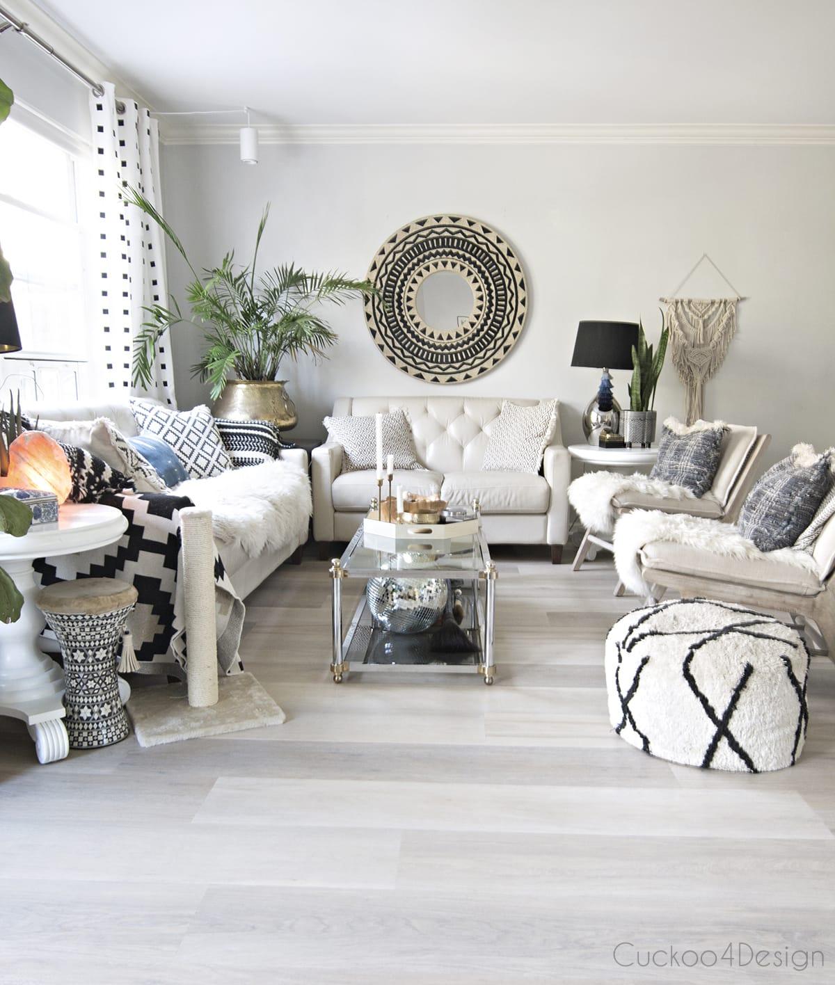light Karndean Texas White Ash vinyl wood plank flooring in living room