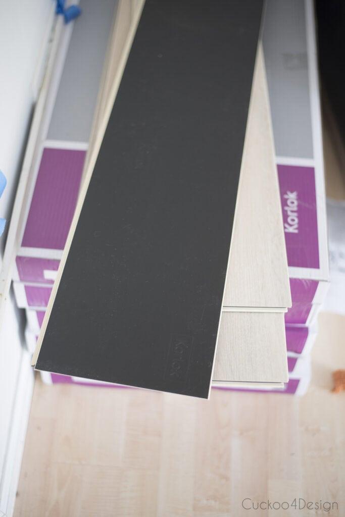insulated back side of Karndean vinyl wood plank flooring