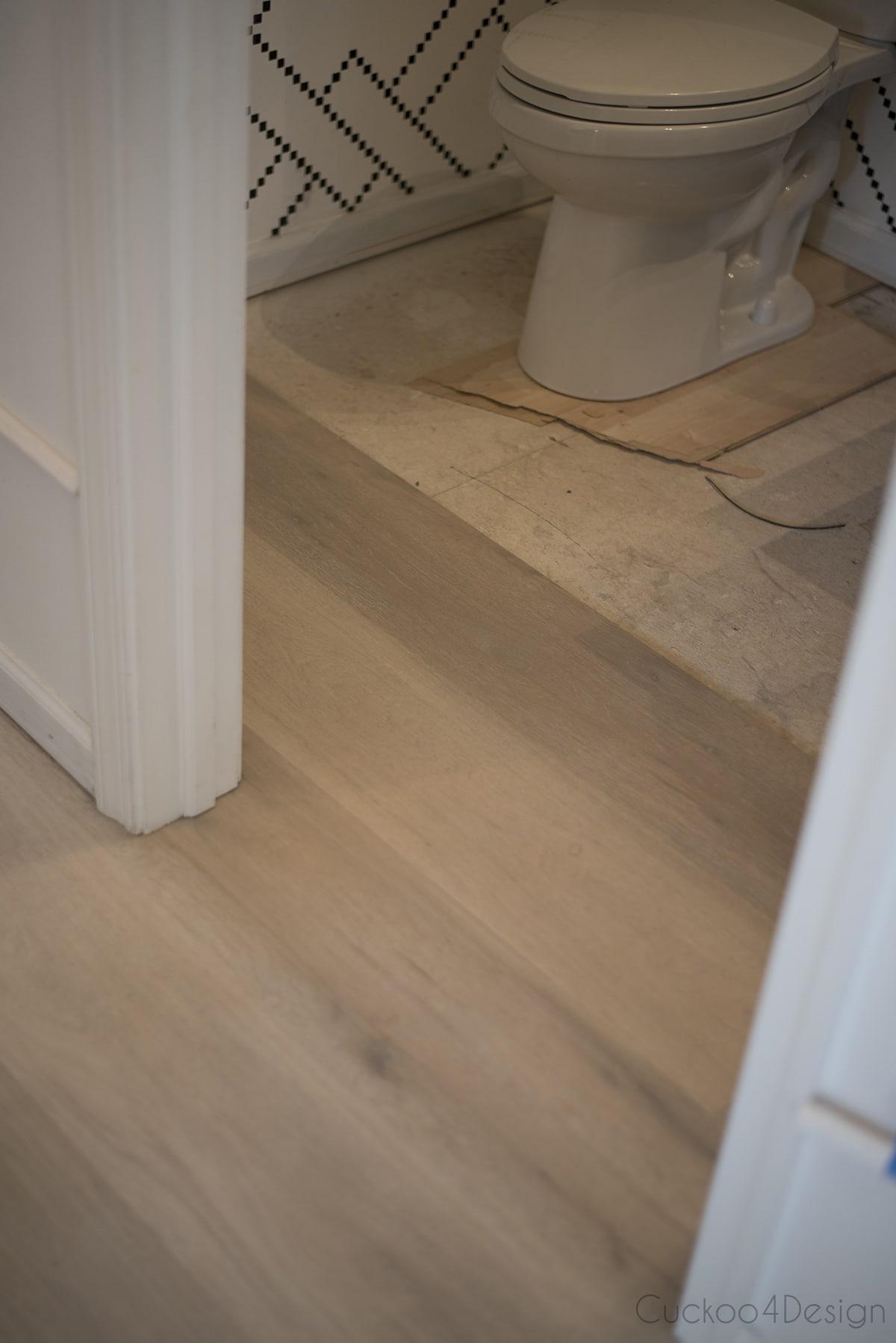 installing vinyl wood plank flooring in powder room