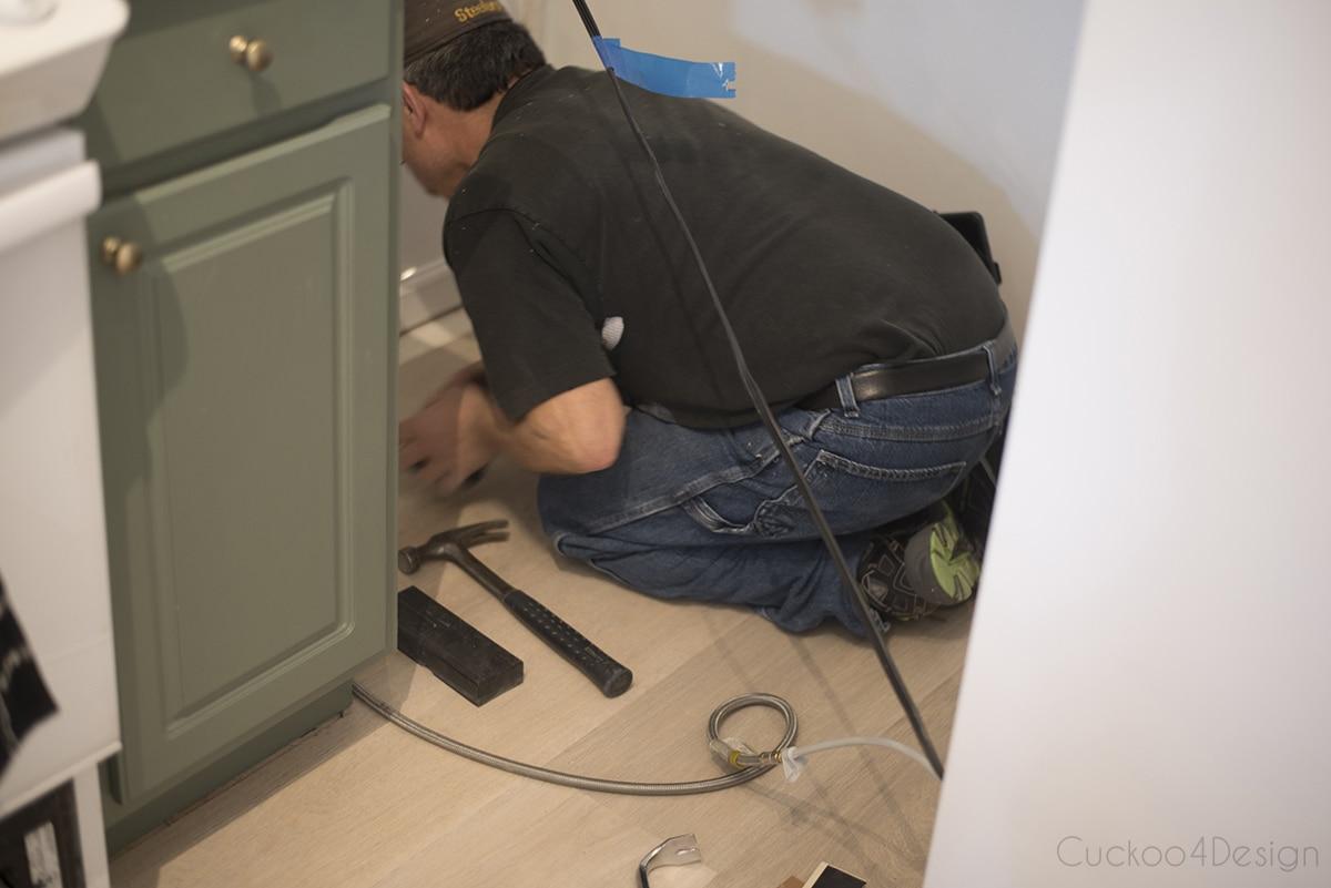 installing vinyl wood plank flooring under appliances