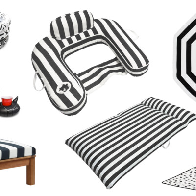 black and white swimming pool accessories