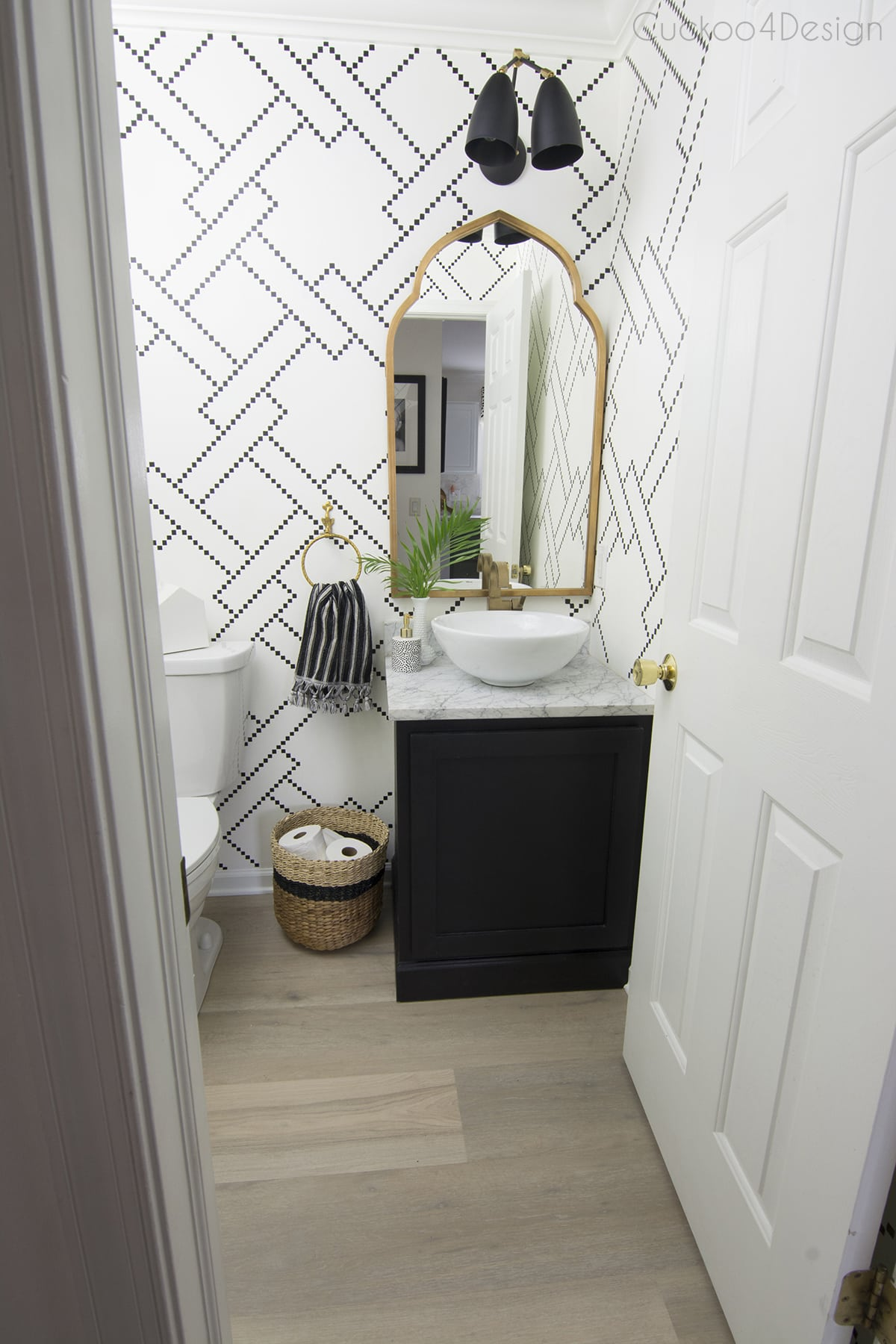 DIY black and white checkered wall stencil